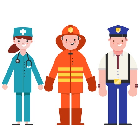 Set of people icons in flat style policeman, fireman, doctor. Emergency service. Vector illustration of people different professions.