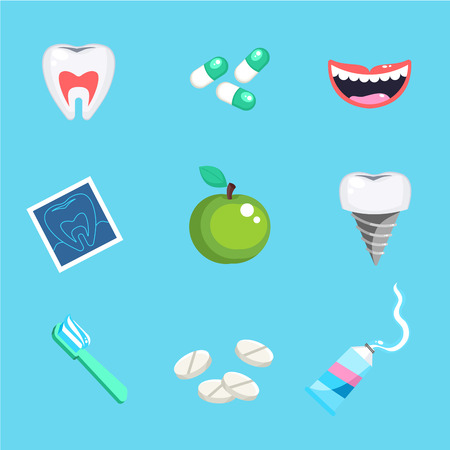 Dental care symbols. Teeth dental care mouth health set with inspection dentist treatment. Dentist with different dental equipment isolated. Profession background vector illustration Illustration
