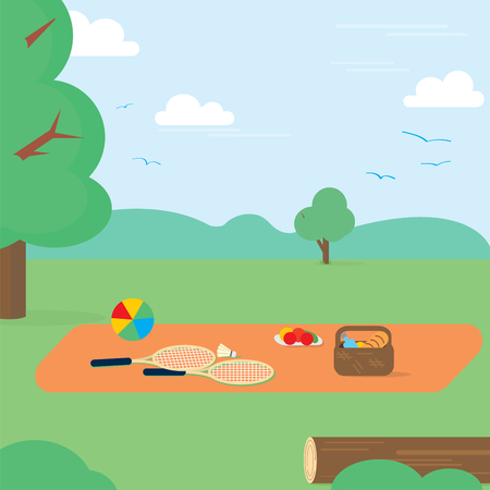 mother and baby: Happy Weekend Party Picnic Food summer. Vector illustration.