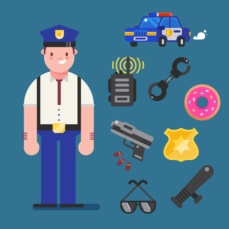 Policeman character design with policeman icons set. Cop elements for info graphic. Vector illustration.
