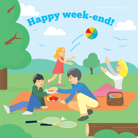 family: Happy Family on Weekend Family picnic. Party Picnic Food summer. Vector illustration.
