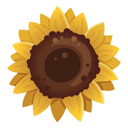 Sunflower icon isolated on white background. Vector illustration