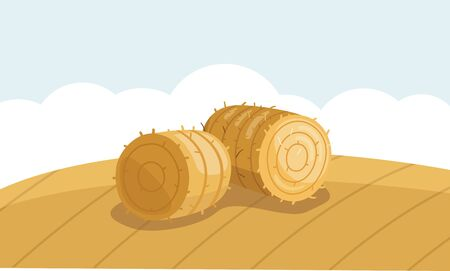 Round Hay Bale in Field in flat style. A stack of hay vector illustration  イラスト・ベクター素材
