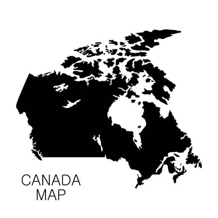 Canada map and country name isolated on white background. Vector illustration