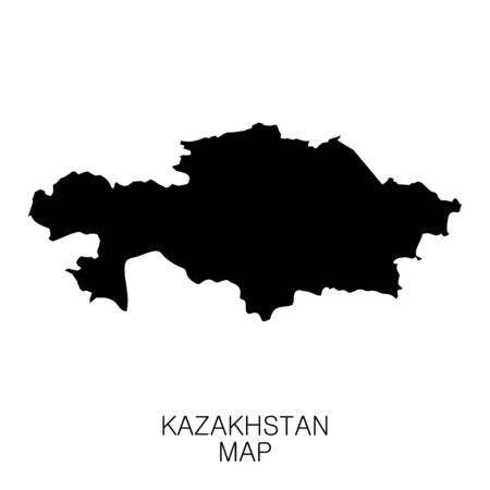 Kazakhstan map and country name isolated on white background. Vector illustration Illusztráció