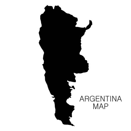 Argentina map and country name isolated on white background. Vector illustration