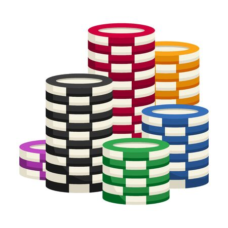 Stack chips casino isolated on a white background. Vector illustration