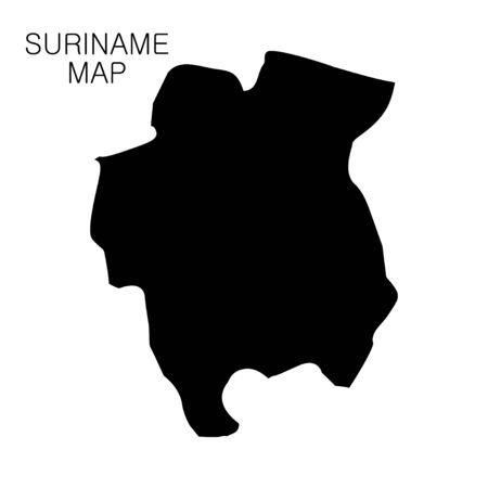 Suriname map and country name isolated on white background. Vector illustration