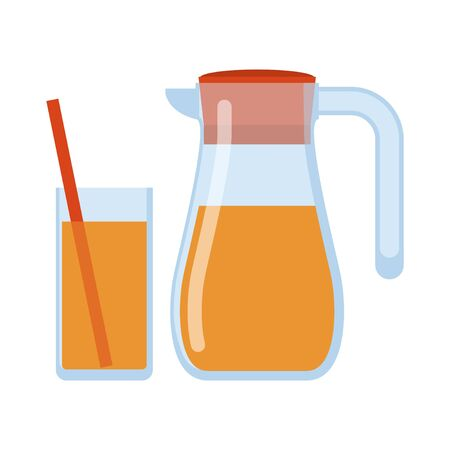 Jug, glass of orange juice isolated icon on white background, Lemonade glass and pitcher. Healthy drink. Flat style vector illustration. Ilustración de vector