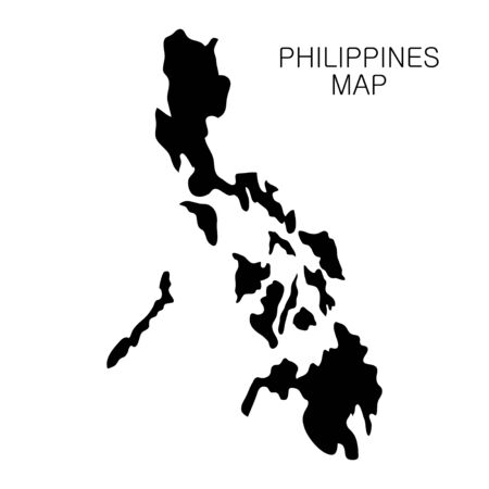 Philippines map and country name isolated on white background. Vector illustration
