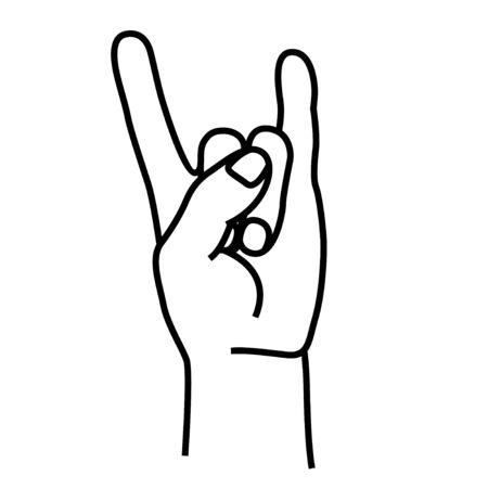 Rock and roll hand gesture symbol in line style isolated on white background. Vector illustration