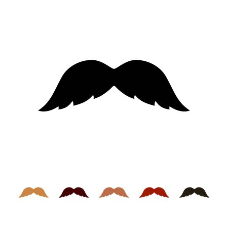 Mustaches icon silhouette isolated on white background. Mens different colors mustache hair. Vector illustration