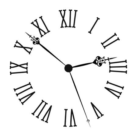 Vintage clock with roman numerals Old fashion isolated on white background. Vector illustration Векторная Иллюстрация
