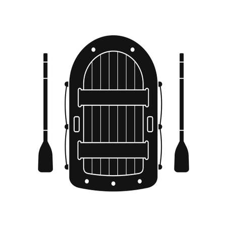 Inflatable boat and paddles icon isolated on white background. Vector illustration