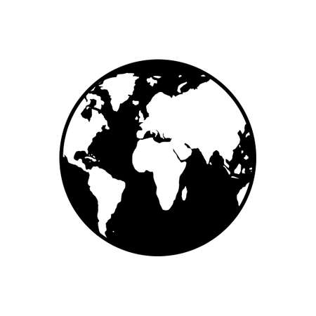 Planet Earth icon isolated on white background. World globe Vector illustration