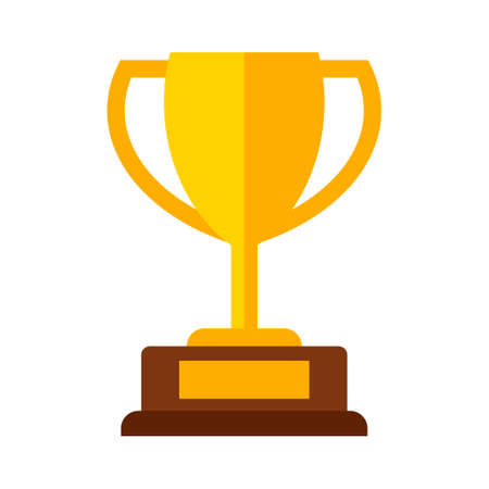 Golden champions cup award icon isolated on white background. Winner trophy vector illustration