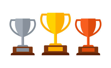 Gold, silver and bronze trophy winners cup set isolated on white background. Vector illustration