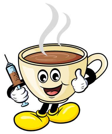 Coffee is my vaccine cartoon vector illustration