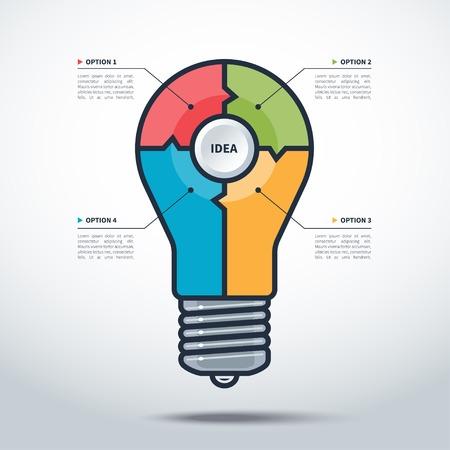 Modern Creative Light Bulb Style infographics template