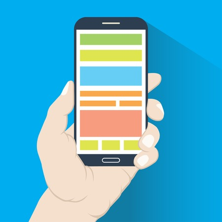 multitask: Smartphone in hand in flat design style isolated on blue background