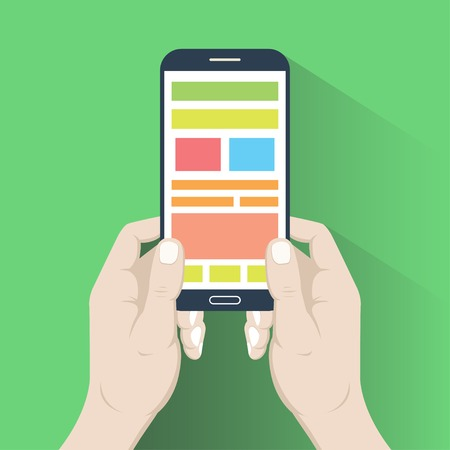 multitask: Smartphone in hands in flat design style isolated on green background
