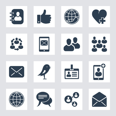 reviews: set of social network and media icons Illustration