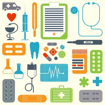 set of flat medical icons isolated on light background Vector