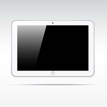 computer banner: Realistic tablet isolated on light background Illustration