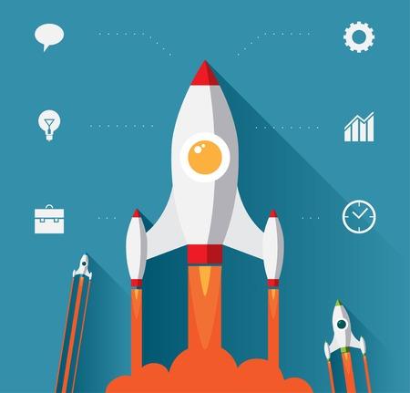 rocket: Flat design modern startup concept