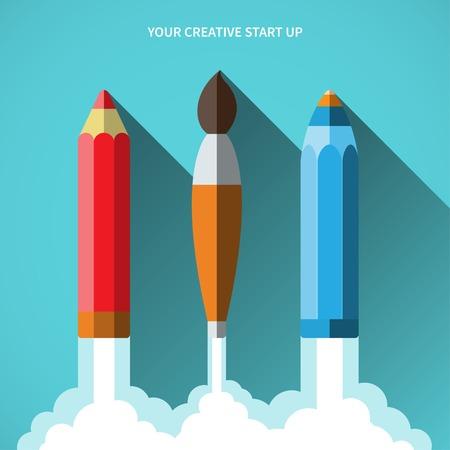 Flat design vector illustration startup concept