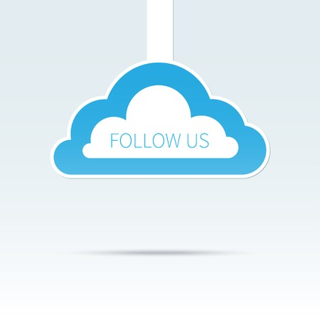 follow us: Trendy follow us cloud icon tag