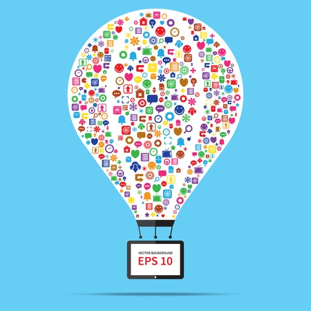 Hot air balloon web and internet business startup concept Vector