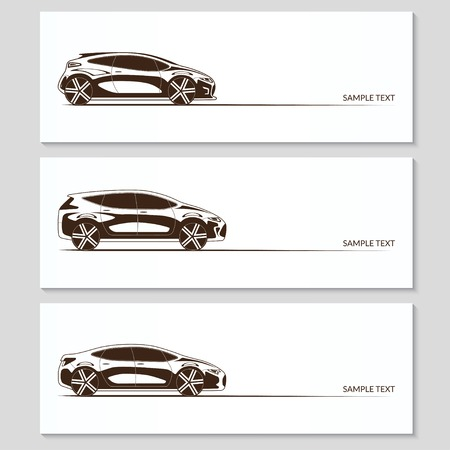 Set of car silhouettes isolated on white Vector