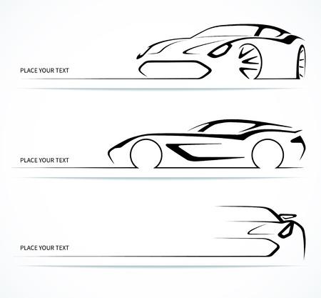 silueta coche: Conjunto de siluetas de coche lineales abstractos.