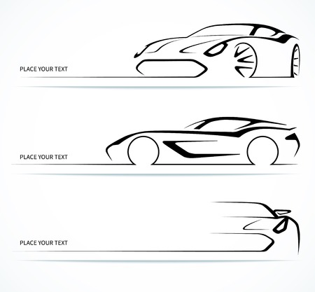 outlines: Set of abstract linear car silhouettes.