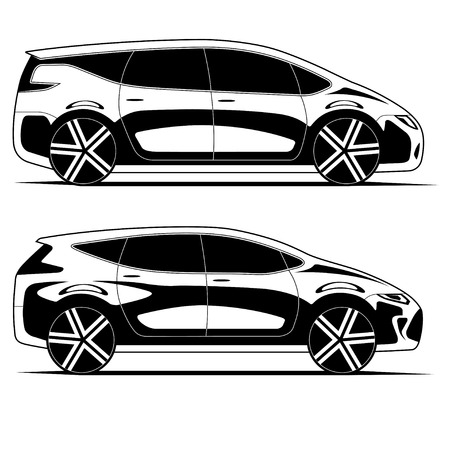 crossover: Silhouettes of cars isolated on white background