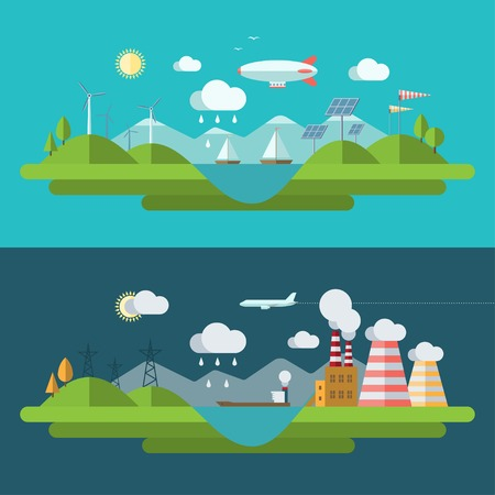 earth pollution: Flat design vector ecology concept illustration Illustration