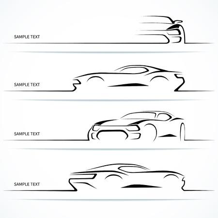автомобили: Набор современных силуэтов автомобилей.