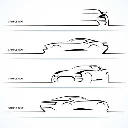 coche: Conjunto de siluetas de automóviles modernos.