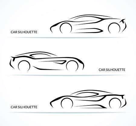 Set van moderne auto silhouetten