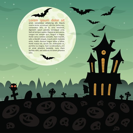 spooky house: Halloween party background.  Illustration