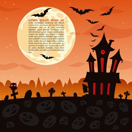 haunted house: Halloween party background. Illustration