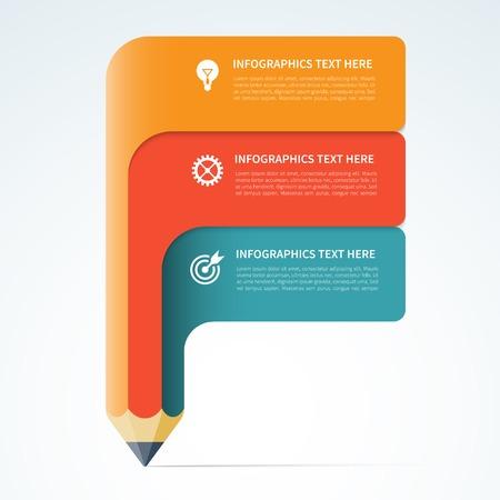 Modern infographics elements forms the shape of pencil Ilustração