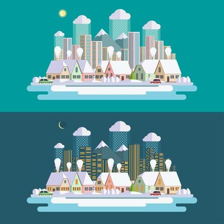 Flat design urban winter landscape illustration Vector