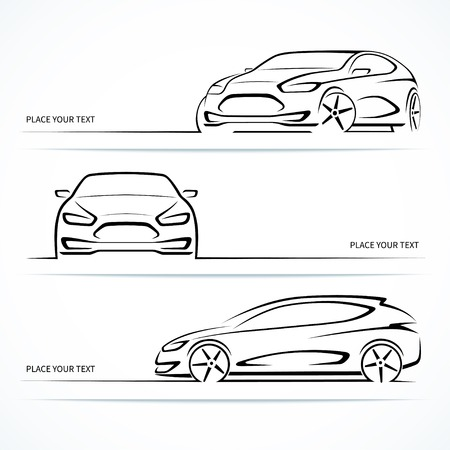 car outline: Set of modern car silhouettes.