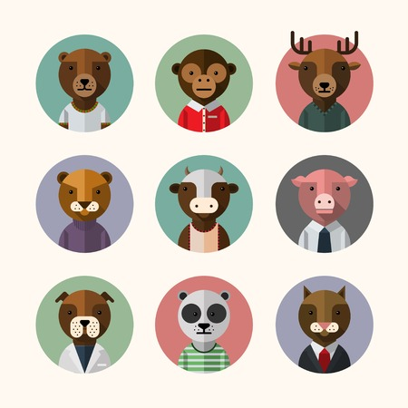 Flat design style animal avatar icon set