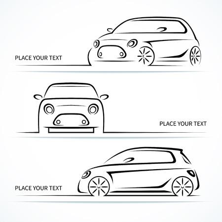 headlight: Set of modern compact car silhouettes Illustration