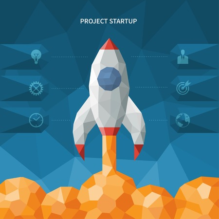Modern vector polygon style startup concept