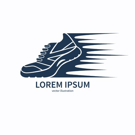 Vector speeding running shoe symbol, icon  Ilustracja