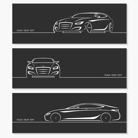 silhouette voiture: Ensemble de silhouettes de voitures modernes. Illustration